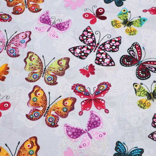 Baumwollstoff bunte Schmetterlinge - hellgrau/fuchsia/türkis/apricot/violett Öko-Tex Standard 100