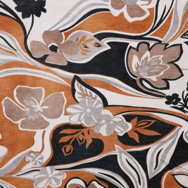Viskosejersey Blumen - wollweiss/terrakotta/hellbraun