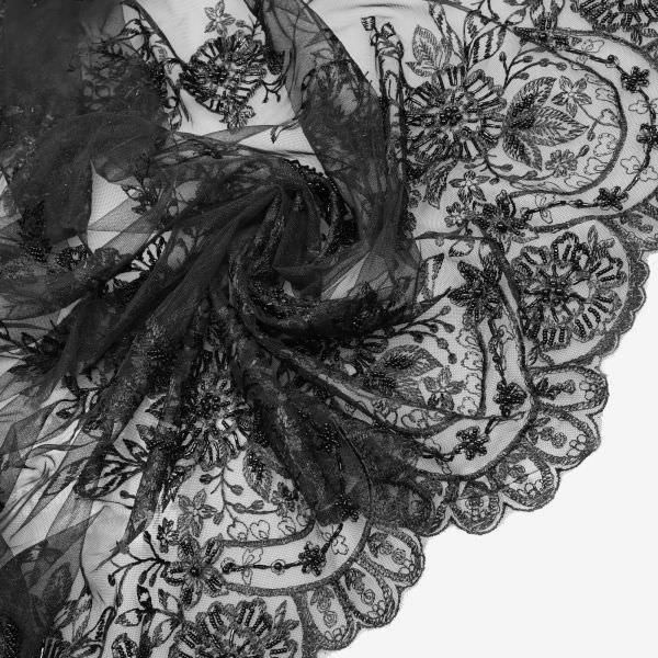 3D Bogen Tüll- Spitze mit Glasperlen - schwarz