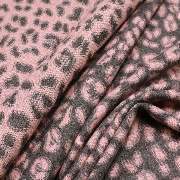 Jacken- und Mantelstoff mit Leoparden-Muster - altrosa/grau