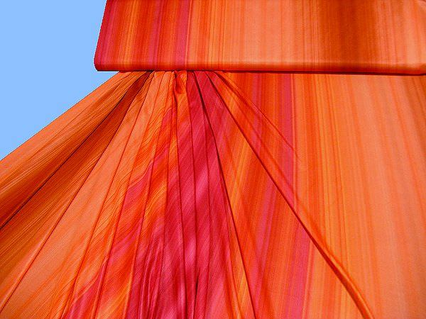 Seidenjersey bedruckt - orange/terrakotta/fuchsia