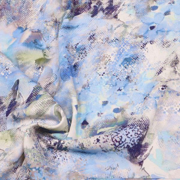 Crêpe Aquarell Blumen - weiss/hellblau/grau/hellgrün