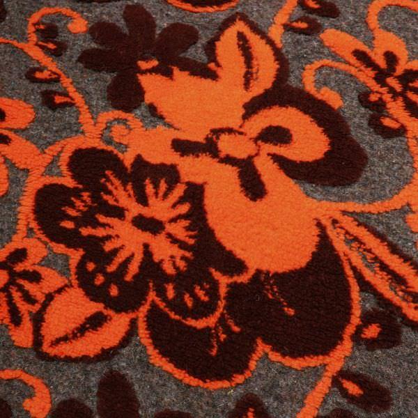 Kochwolle Wollstrick mit Blumen-Motiv - braun/grau/orange/bordeaux