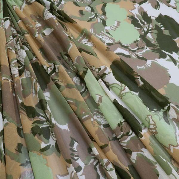 Chiffon Fantasie Blumen - hellbraun/schilfgrün/olivgrün/taupe