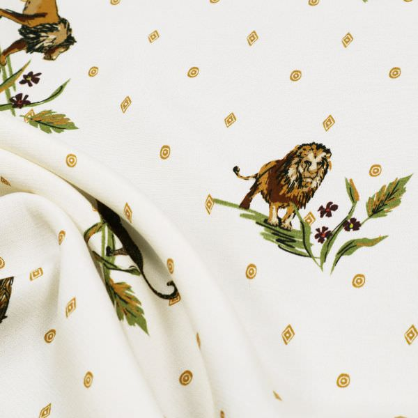Viskose Crêpe Wildtiere Safari-Look - wollweiss/beige/ocker/braun/olivgrün (2.Wahl)