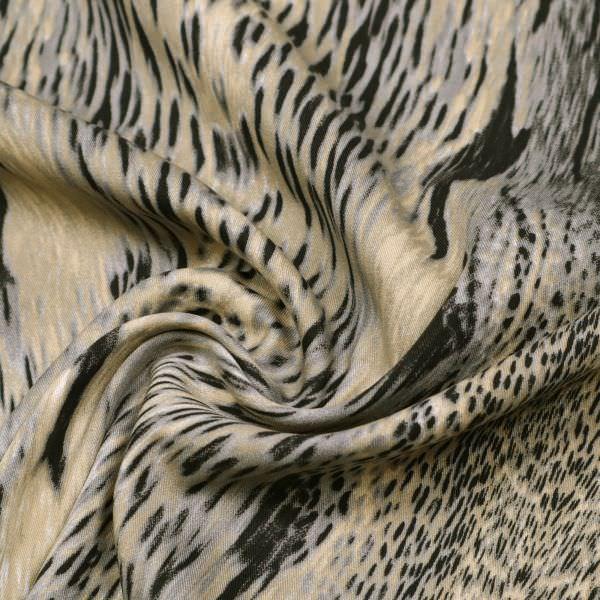 Viskose-Baumwolle Mix Twill Animal-Print - wollweiss/beige/taupe/schwarz