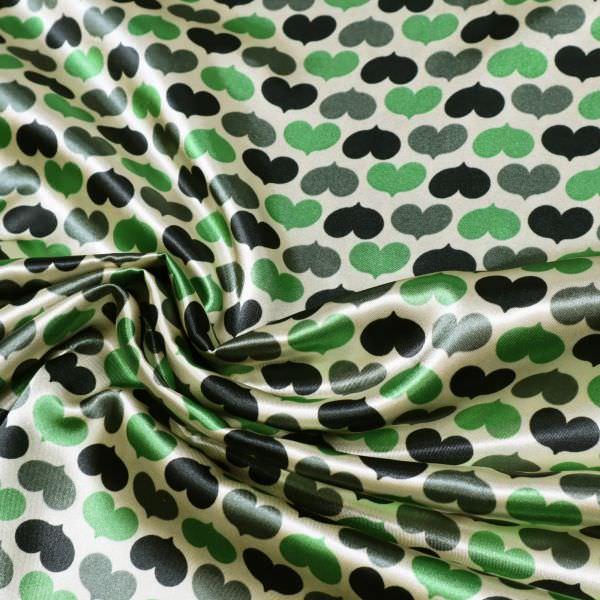 Satin mit Herzchen - beige/grün/dunkelgrün/schwarz