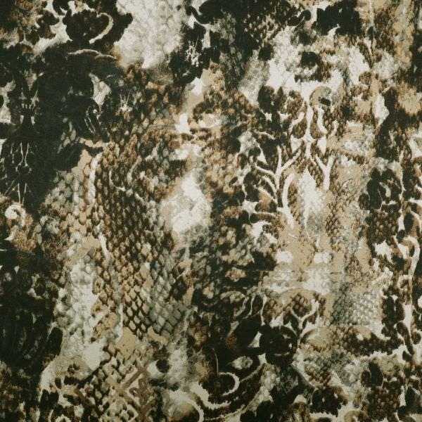 Baumwolle-Viskose Mix mit Schlangen & Leoparden-Muster - beige/braun/taupe/schwarz