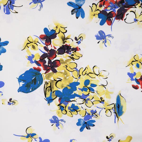 Viskose-Baumwolle Mix Twill Blumen - wollweiss/gelb/türkis/rot