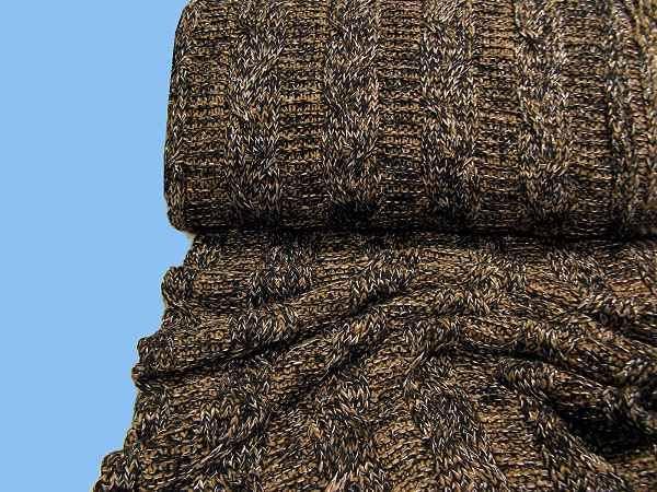 Strick mit Zopfmuster - schwarz/braun/silber