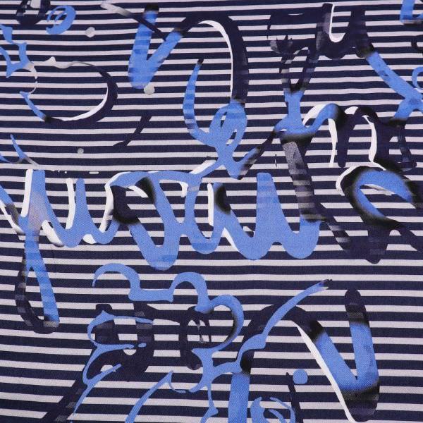 Viskosestoff Streifen & Handschrift - nachtblau/hellgrau/blau/wollweiss