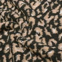 Bouclé Strickstoff Leo Muster - anthrazit/beige/wollweiss