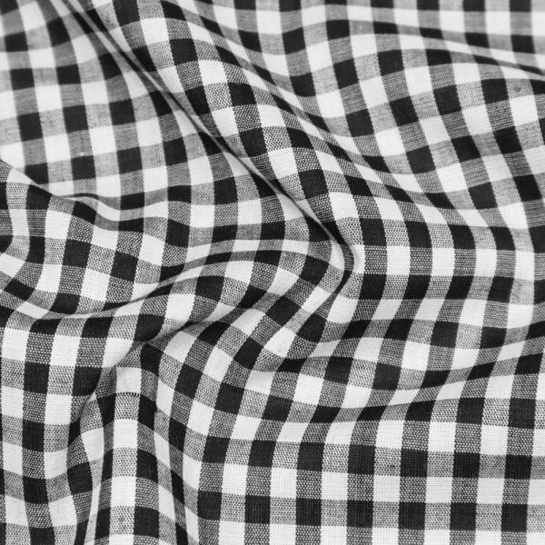 Baumwolle-Polyester Mix Vichykaro - schwarz/weiss