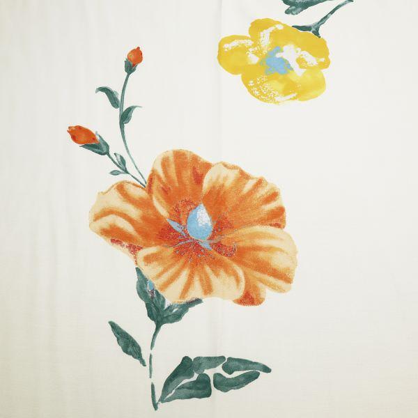 Viskosestoff grosse Blumen - creme/orange/gelb/schilfgrün