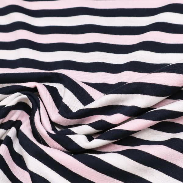 Baumwolljersey mit Querstreifen - weiss/rosé/nachtblau