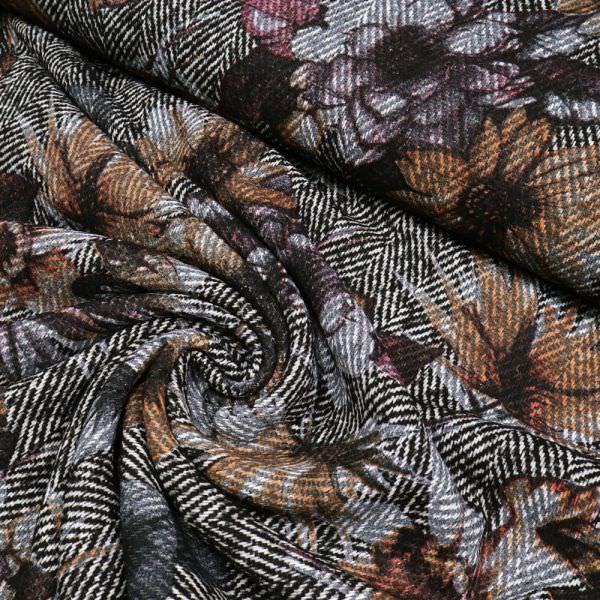 Fischgrat mit großem Blumenmotiv - schwarz/wollweiss/hellgrau/terrakotta/braun