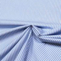 Baumwoll- Popeline Streifen - weiss/hellblau
