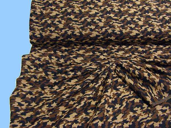 Jackenstoff mit Camouflagemuster - schwarz/camelbraun/braun