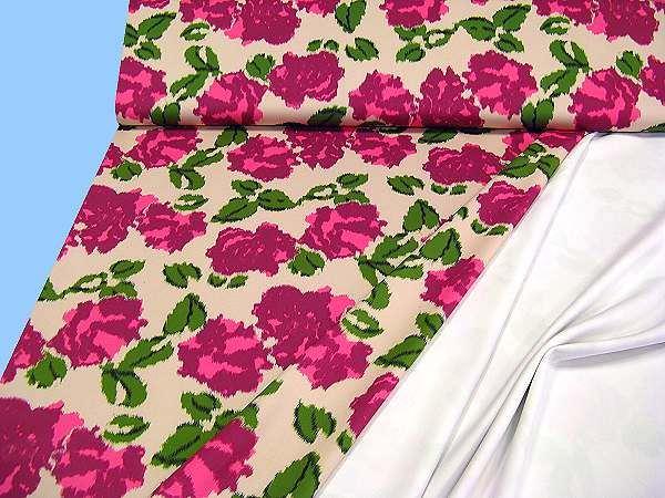 Interlock- Jersey mit Blumenmotiv - beige/pink/brombeer/grün/dunkelgrün