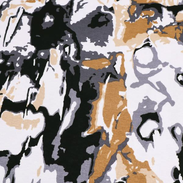 Viskosejersey Abstrakt - weiss/braun/grau/schwarz