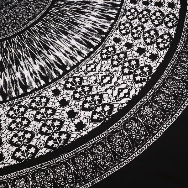 Baumwollstoff Halbkreisform Africanstyle PANEL - schwarz/weiss/gold