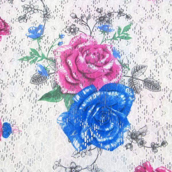 Stretch Spitze mit Rosen-Motiv - weiss/fuchsia/blau