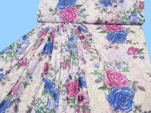 Spitze mit großem Blumenmotiv - weiss/fuchsia/blau/grün/anthrazit