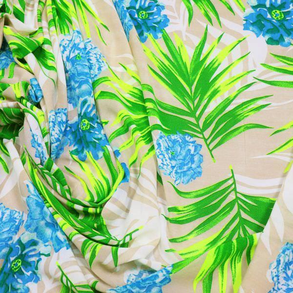 Crêpe Chiffon Blumen & Palmenblätter - weiss/beige/neongelb/türkis/grün