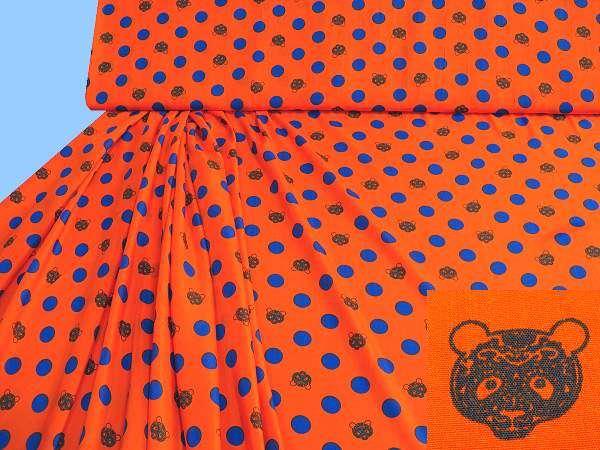 Blusen- und Kleiderstoff mit Punkten&Bären-Motiv - orange/royalblau