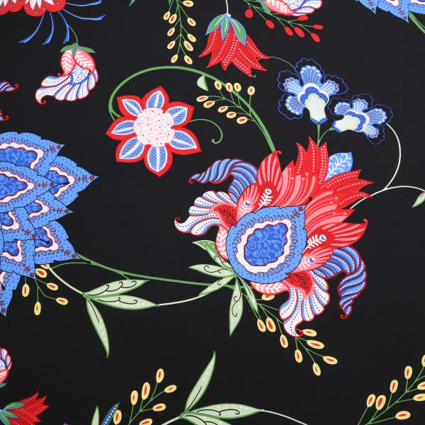 Blusen- und Kleiderstoff bunte Fantasie Blumen - schwarz/rot/blau/gelb/grün