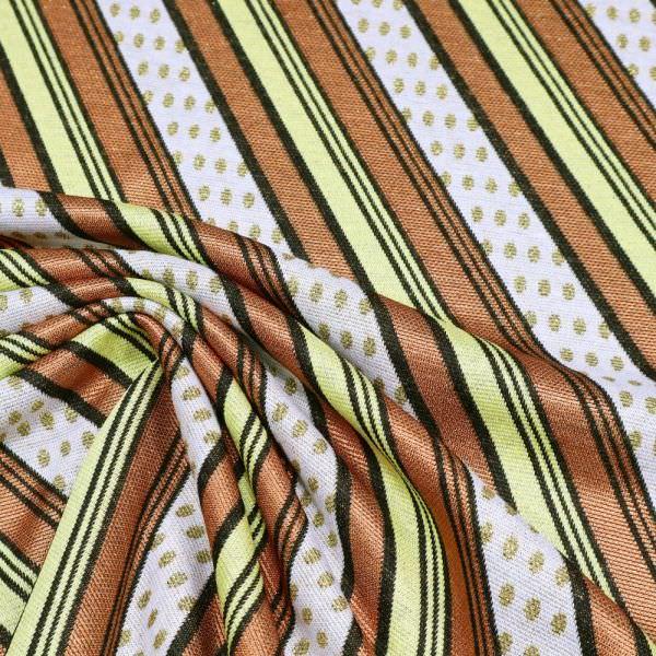 Viskose- Feinstrick Lurex Streifen & Punkte - wollweiss/kupfer/gelb/schwarz/gold