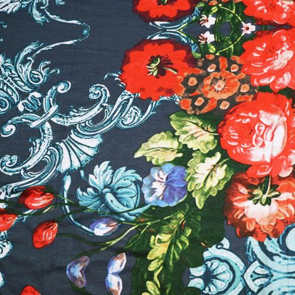 Viskosejersey grosse Blumen & Ornamente - petrol/rot/gelb/türkis/braun/dunkelgrün