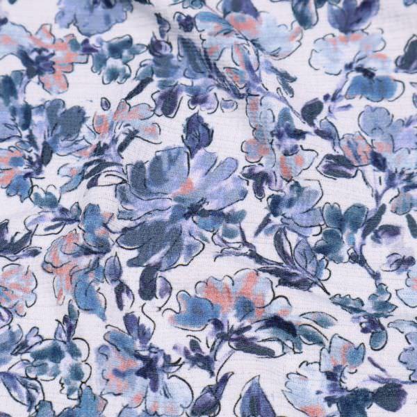 Crêpe Jersey mit Blumen-Motiv - weiss/jeansblau/taubenblau/altrosa/schwarz