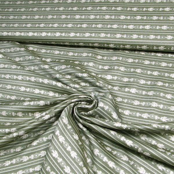 Trachtenstoff Jacquard Lurex Blumenranken & Streifen - dunkelgrün/wollweiss/silber Öko-Tex Standard