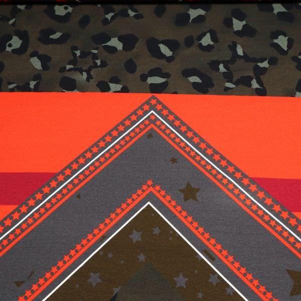 Crêpe-Viskosejersey Camouflage & grafische Muster PANEL - hellrot/braun/khaki/schwarz