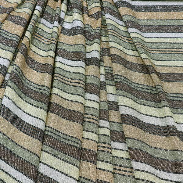 Lurex Viskosejersey mit Streifen - schilfgrün/braun/beige/schwarz/silber
