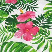 Baumwollstoff Tropical Hibiskus - weiss/himbeere/fuchsia/grün Öko-Tex Standard 100