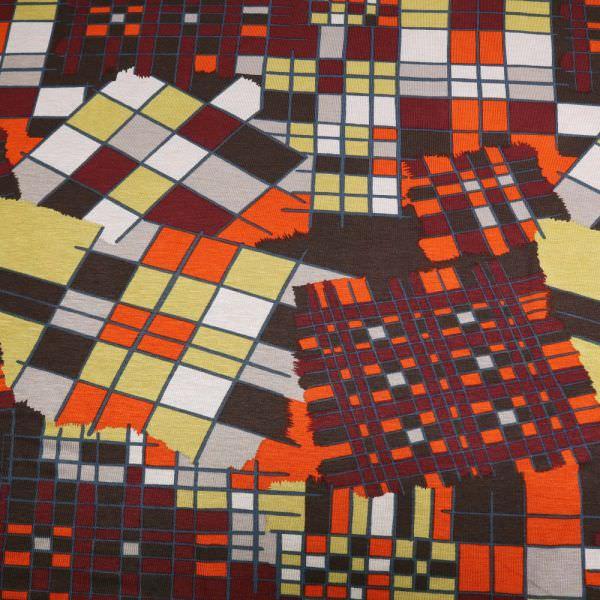 Viskosejersey geometrisches Muster - braun/bordeaux/kiwi/terrakotta