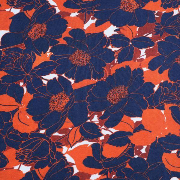 Baumwolljersey grosse Blumen - wollweiss/dunkelblau/terrakotta