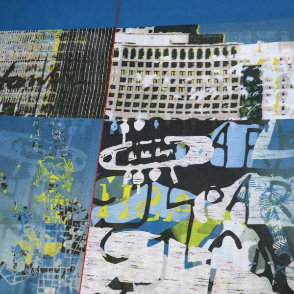 Sommerschals- Voile Skyline-Motiv - blau/weiss/gelb/grün/schwarz