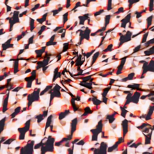 Viskose Slinky mit Fantasie Muster - schwarz/braun/lachs/bordeaux/khaki/wollweiss