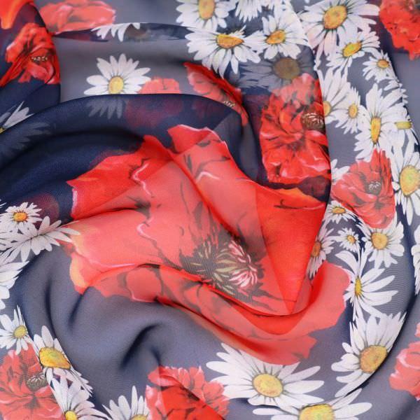 Chiffon Mohnblumen - dunkelblau/rot/weiss/gelb/schwarz