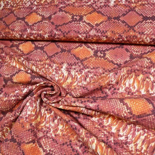 Stretch Baumwollstoff mit Schlangenmuster - creme/terrakotta/orange/braun/rosenholz
