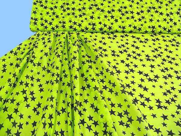 Blusen- und Kleiderstoff mit Sternen - neongrün/schwarz