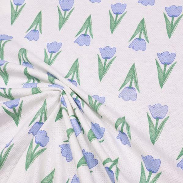 Piqué Jersey Tulpen - weiss/hellblau/grün