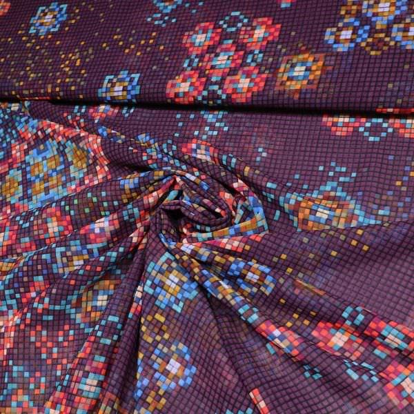 Chiffon Mosaik - lila/rot/fuchsia/blau/türkis/orange