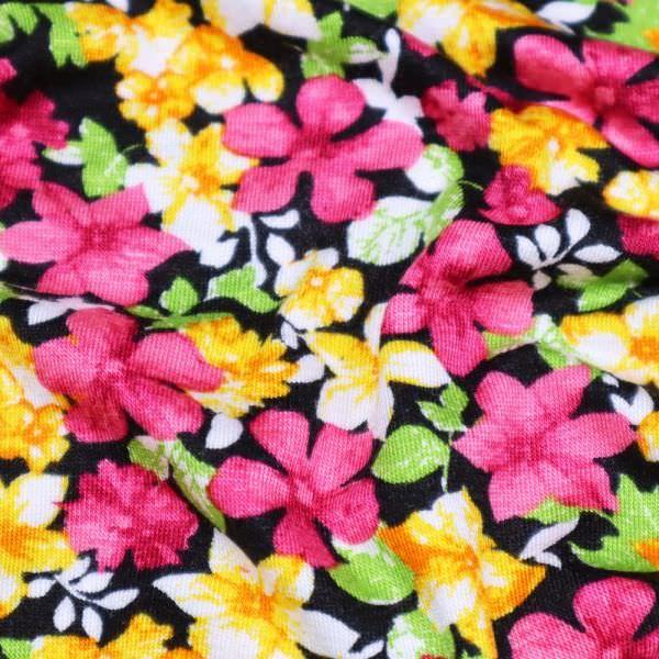 Viskosejersey bunte Blumen - schwarz/gelb/orange/fuchsia/grün/weiss