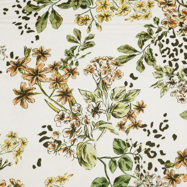 Digitaldruck Baumwoll- Stretch Satin Blumen & Leopardenmuster - creme/apricot/gelb/altrosa