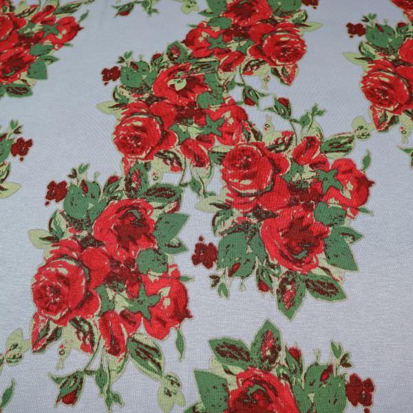 Viskosejersey mit Rosen - taubenblau/rot/weinrot/grün