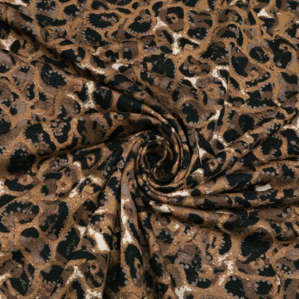 Viskosejersey mit Leoparden-Muster - braun/rehbraun/wollweiss/schwarz